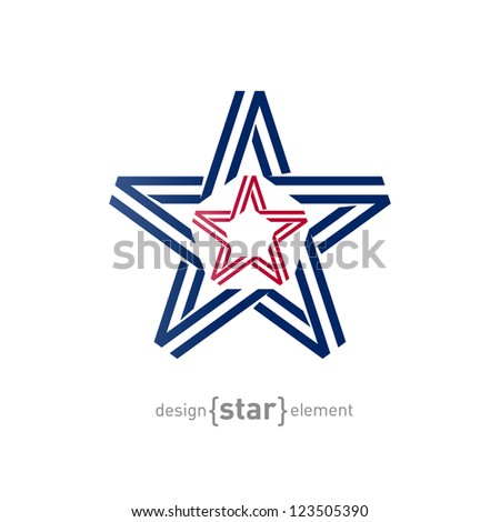 The monocrome star from ribbon vector illustration - stock vector