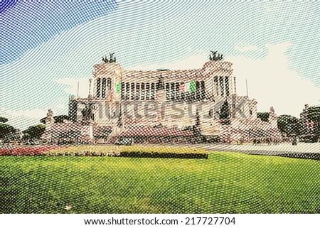 The monumental memorial for king Vittorio Emanuele II. Vintage travel postcard of Rome. - stock vector