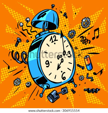 The morning alarm clock rings time to Wake up. Technique work schedule - stock vector