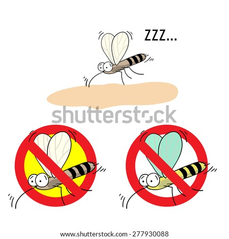 the mosquitoes stop sign - vector image of funny  mosquito in a red crossed out circle - stock vector