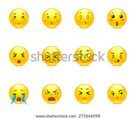 The most beautiful yellow anime stickers with different emotions - stock vector