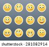 The most beautiful yellow stickers with different emotions - stock photo