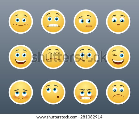 The most beautiful yellow stickers with different emotions - stock vector