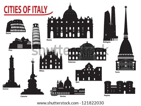 The most famous building in the city of Italy - stock vector