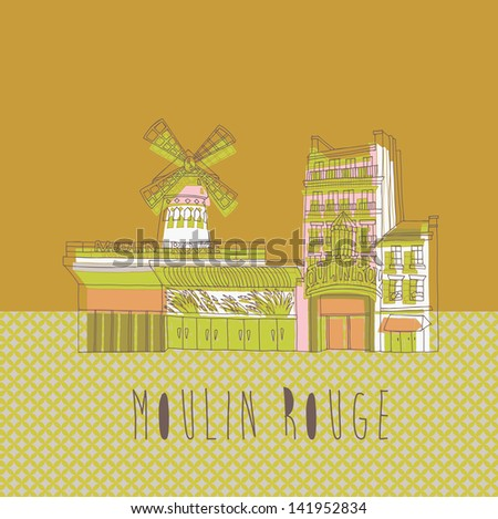The Moulin Rouge print design - stock vector