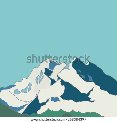 The Mountains. mountain landscape.mountains covered with snow. Background, card, poster. Vector.