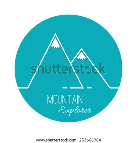 The mountains with snowy peaks. Vector icon. Logo. Hiking, climbing, travel. Investigation of the Wild. Outline. - stock vector