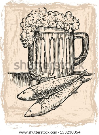 The mug of beer and two fish