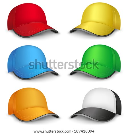 The multicolored mesh empty template cap on the white background - stock vector