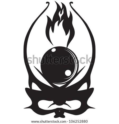 Mystical Ball Fire Vector Illustration Tattoos Stock Vector