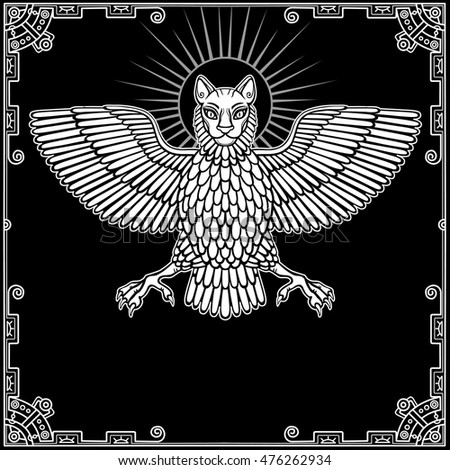 The mythical animal, Anzud with a body of a bird and the head of a lion. Character of Sumerian mythology. The white drawing on a black background, a decorative frame. Vector illustration.