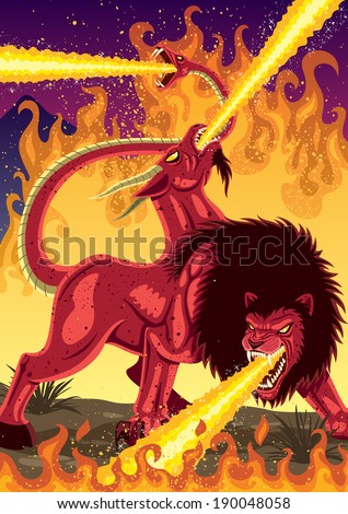 The mythical monster Chimera, devastating everything in her way.  No transparency used. Basic (linear) gradients.  - stock vector