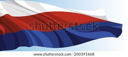 The national flag of the Russia on a background of blue sky - stock vector
