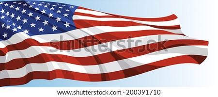 The national flag of the United States of America on a background of blue sky - stock vector