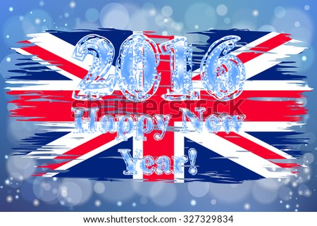 The national Flag of United Kingdom painted with a brush colored inks. Effects of the country. Happy New Year 2016. Merry Christmas. Background, grunge, paint. Image. Vector. Icon.