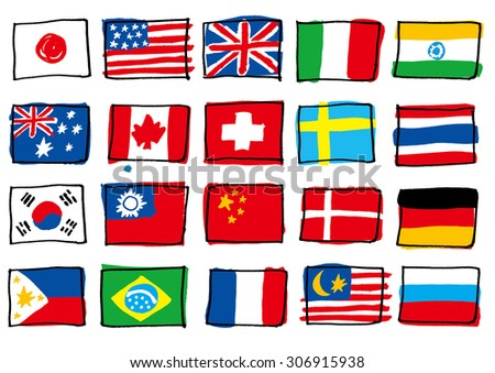 The national flag which I wrote by hand - stock vector