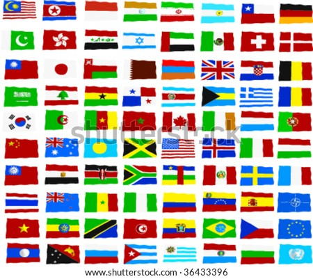 the national flags of all countries of the world
