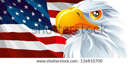The national symbol of USA. Flag and Eagle. - stock vector