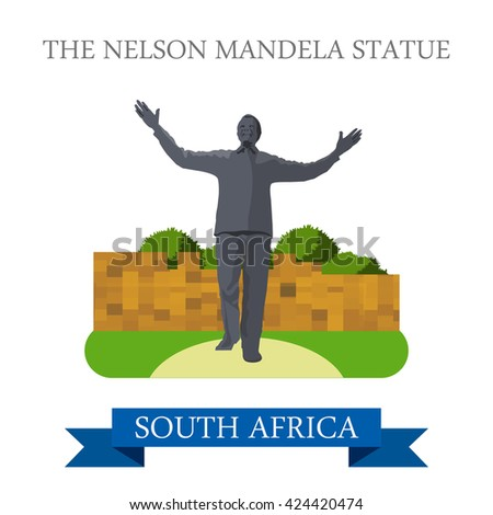 The Nelson Mandela Statue in Johannesburg in South Africa. Flat cartoon style historic sight showplace attraction web site vector illustration. World countries cities travel Africa collection. - stock vector