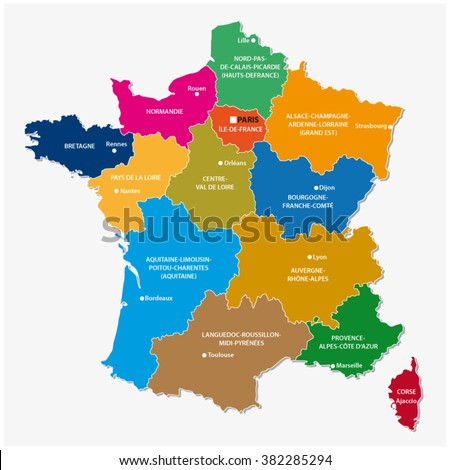the new regions of france since map - stock vector