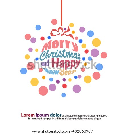 New year merry christmas greeting text stock vector 482060989 the new year and merry christmas greeting text pattern in cute round shape used for m4hsunfo