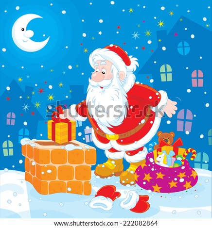 The night before Christmas, Santa Claus putting his holiday gifts into a chimney on a snow-covered roof - stock vector