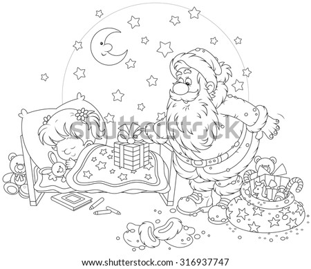 The night before Christmas, Santa Claus putting his presents near the bed of a sleeping girl