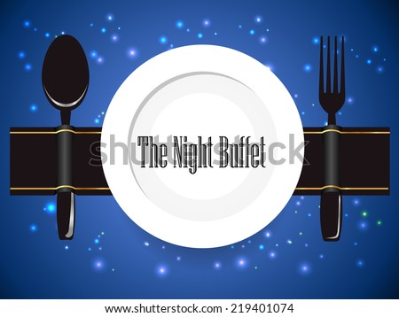the night buffet, dinner, food manner, all you can eat buffet sign - vector eps10 - stock vector