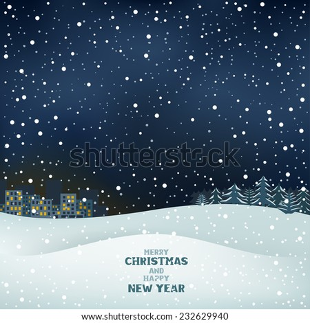The night winter Christmas background, snow, forest and the city on the horizon - stock vector