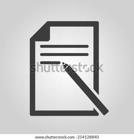 The note paper icon. Text file symbol. Flat Vector illustration - stock vector