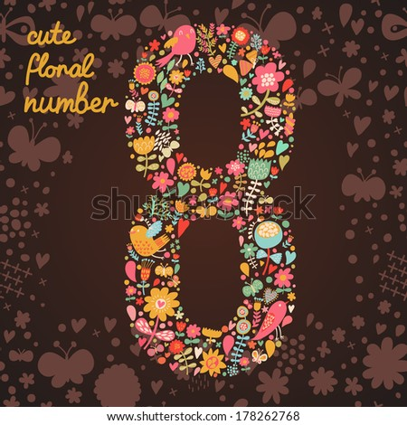 The number 8. Bright floral element of colorful alphabet made from birds, flowers, petals, hearts and twigs. Summer floral ABC element in vector - stock vector