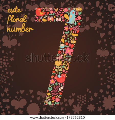 The number 7. Bright floral element of colorful alphabet made from birds, flowers, petals, hearts and twigs. Summer floral ABC element in vector - stock vector