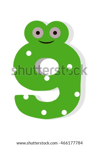 the number in fun in the style of children. It is 9. Vector illustration