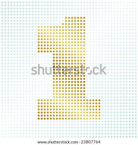 """The number """"1"""" made up of dots on a dotted background - fully editable - stock vector"""