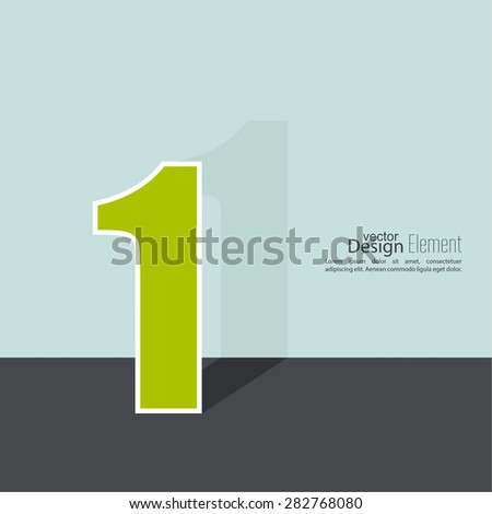 The number 1. one. abstract background. Outline. Logo or corporate identity. 