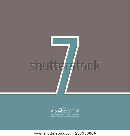 The number 7. seven. abstract background. Outline. Logo or corporate identity - stock vector