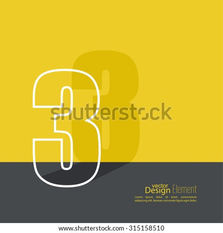 The number 3. three. abstract background. Outline. Logo or corporate identity. 