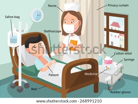 The nurse taking care of patient in the ward of hospital with Related Vocabulary Index illustration, vector - stock vector