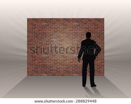 The obstacle in the form of a brick wall and thinking man, a symbol of the difficulties in the work. - stock vector
