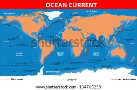 The ocean currents. Vector map - stock vector