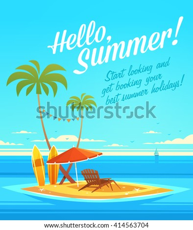 The Ocean Heals Everything. Summertime quote. Summer Holidays poster, background with small island, deckchair, sun umbrella, sandy beach, palms and the ocean. Vector illustration. - stock vector