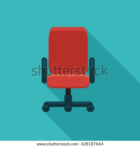 The office chair. Flat vector icon. Symbol - stock vector