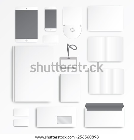 The Office. Devices. Empty elements. You can apply your design. Workplace. - stock vector