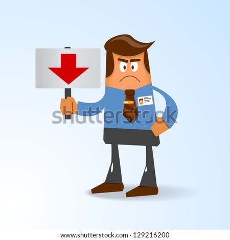 the office man with tablet. Vector illustration