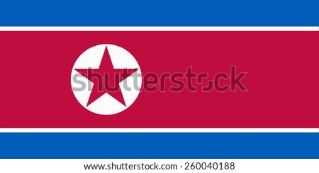 The official flag of the Democratic People's Republic of Korea in both color and proportions - stock vector