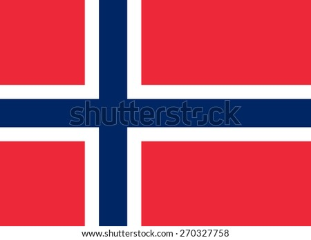 The official flag of the Kingdom of Norway in both color and proportions - stock vector