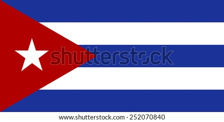 The official flag of the Republic of Cuba in both sze and color. The flag was  adopted May 20, 1902 - stock vector