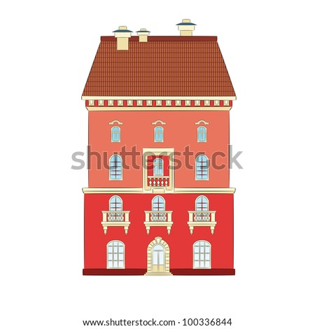 The old city house. The file contains seamless pattern - tile for a roof. - stock vector