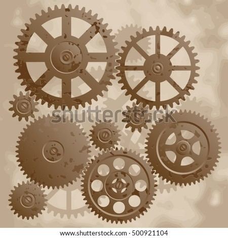 The old gears. Vintage mechanism with gears. Vector illustration.