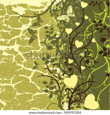 The old leaves and hearts on the background of cracked earth - stock vector
